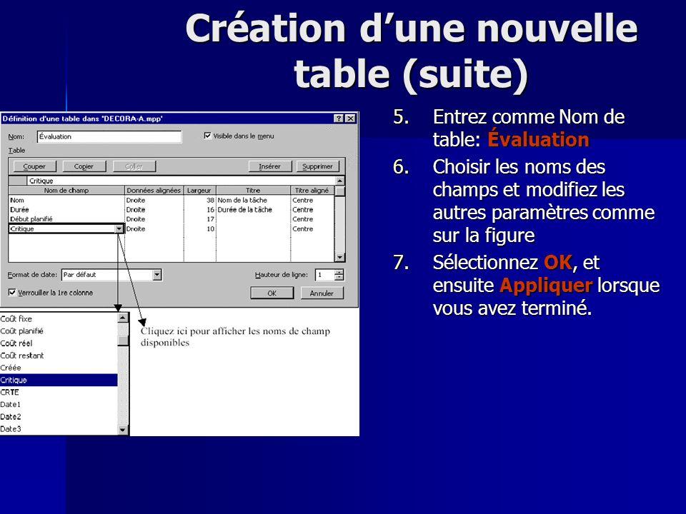 Création d'une nouvelle table (suite)