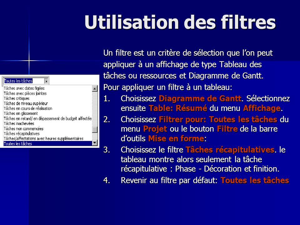 Utilisation des filtres