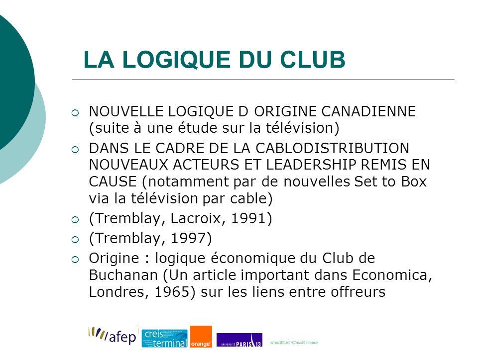 LA LOGIQUE DU CLUB NOUVELLE LOGIQUE D ORIGINE CANADIENNE (suite à une étude sur la télévision)
