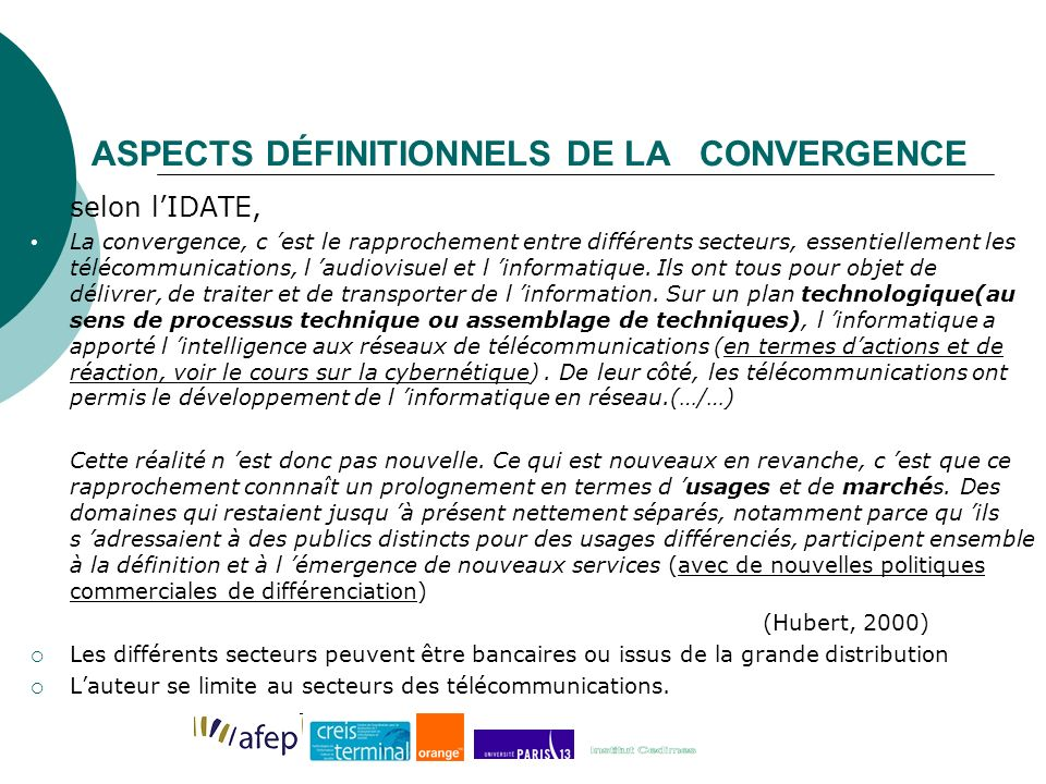 ASPECTS DÉFINITIONNELS DE LA CONVERGENCE