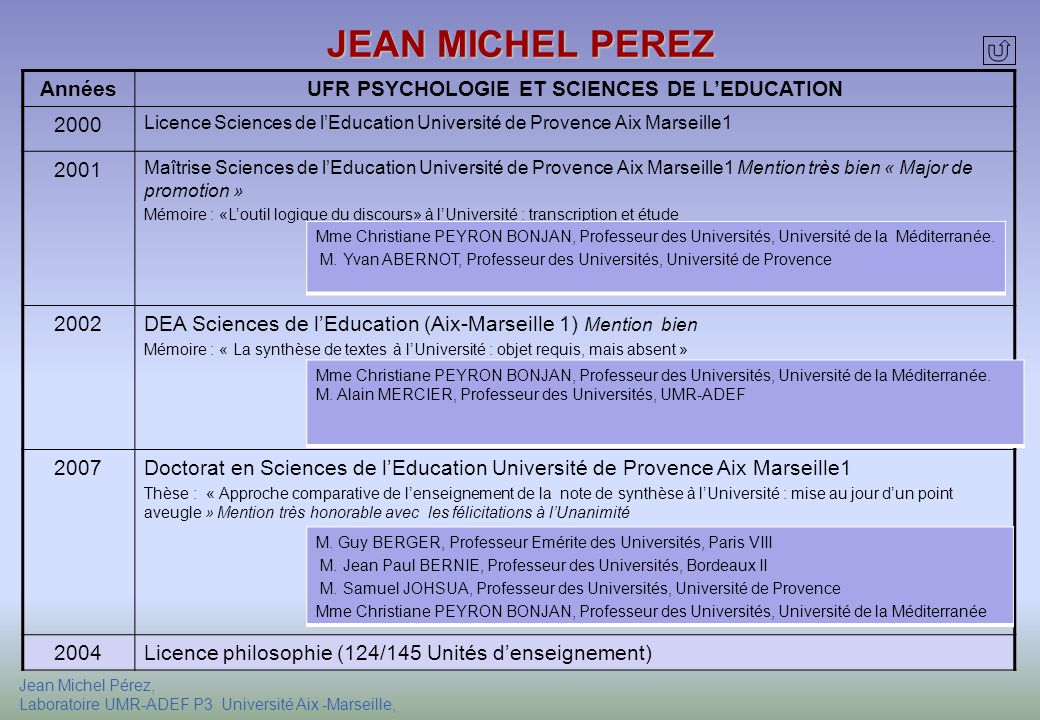 UFR PSYCHOLOGIE ET SCIENCES DE L'EDUCATION