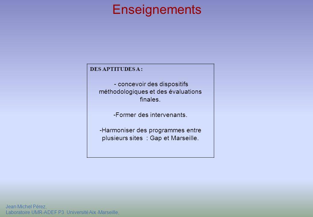 Enseignements DES APTITUDES A : - concevoir des dispositifs méthodologiques et des évaluations finales.