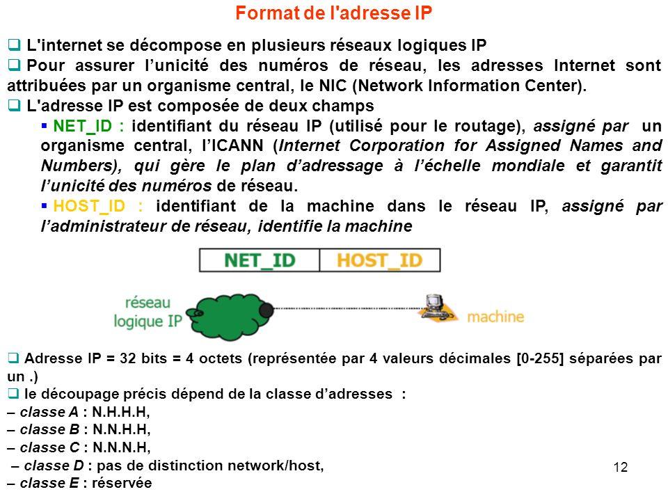 Format de l adresse IPL internet se décompose en plusieurs réseaux logiques IP.