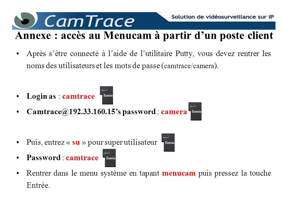 Annexe : accès au Menucam à partir d'un poste client