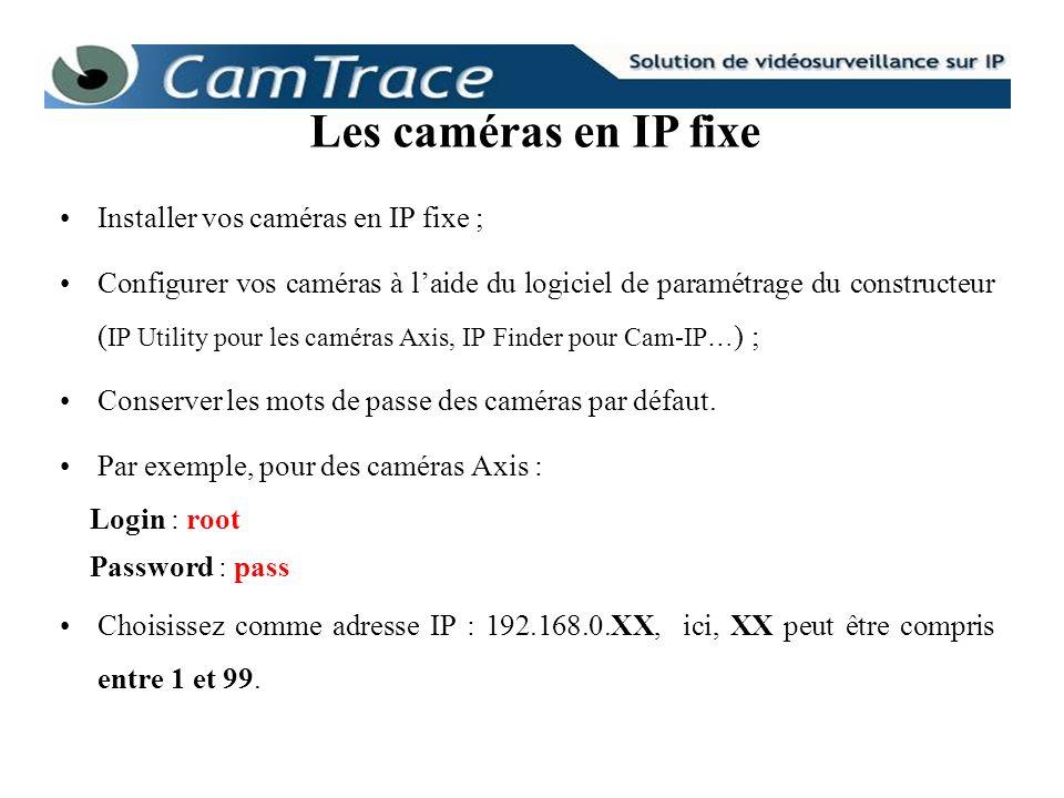 Les caméras en IP fixe Installer vos caméras en IP fixe ;