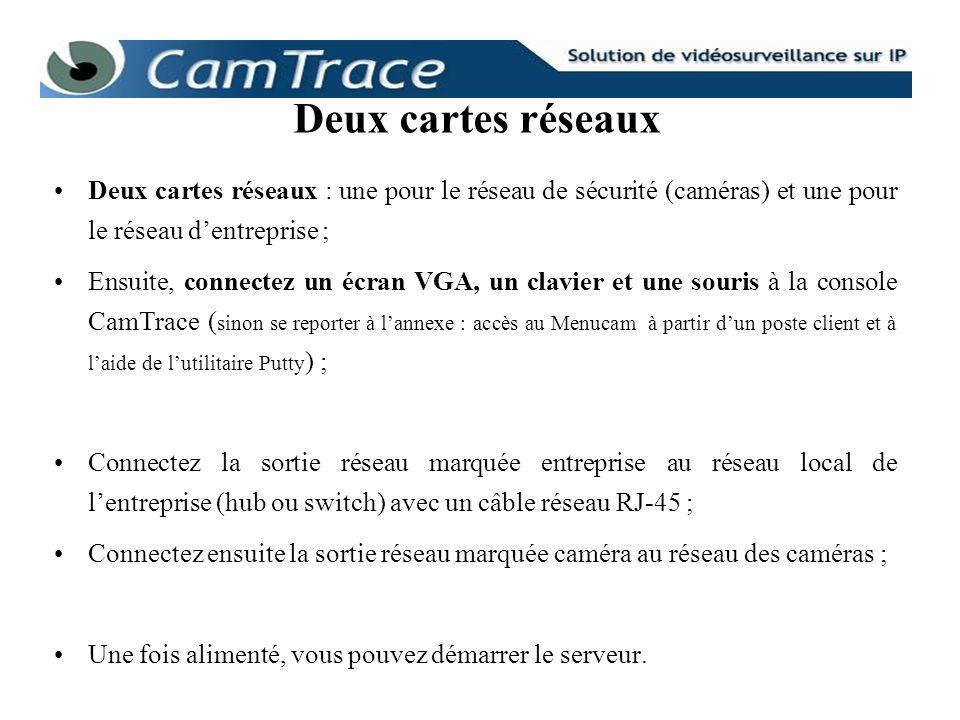 Deux cartes réseauxDeux cartes réseaux : une pour le réseau de sécurité (caméras) et une pour le réseau d'entreprise ;