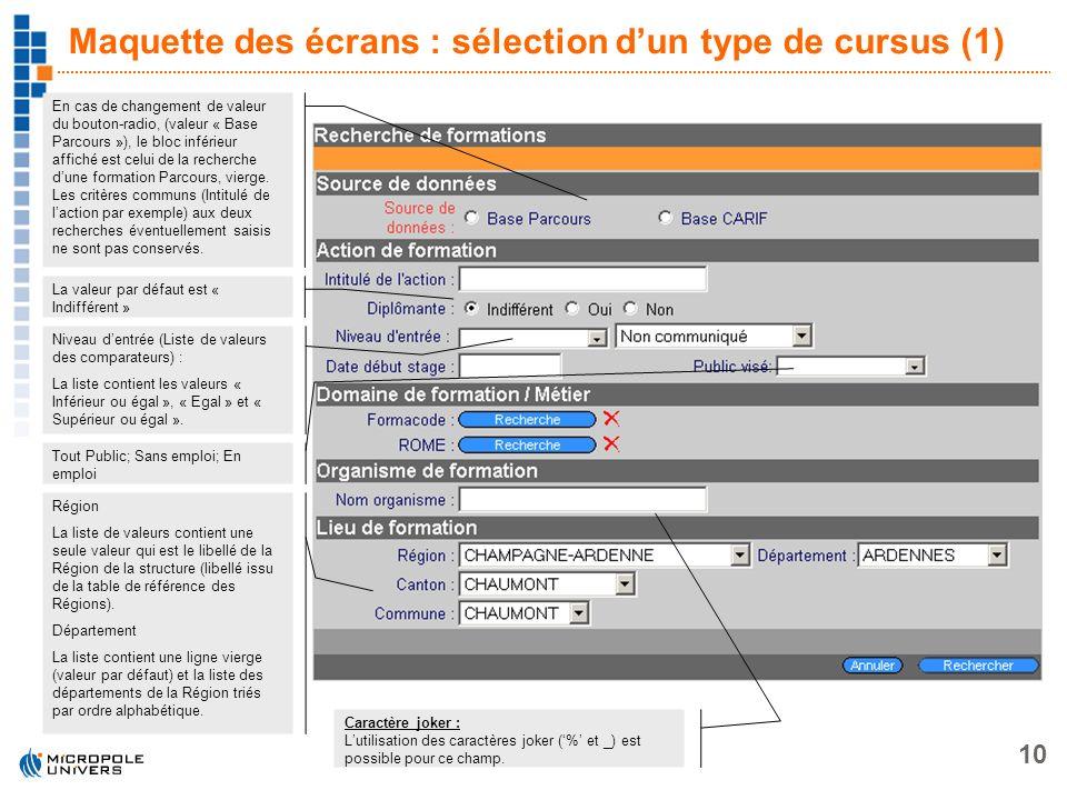 Maquette des écrans : sélection d'un type de cursus (1)