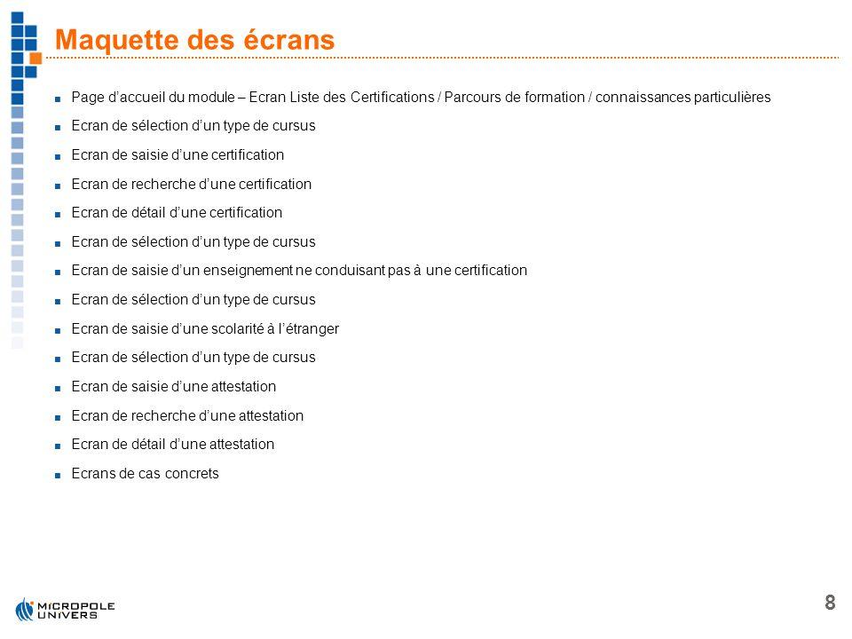 Maquette des écrans Page d'accueil du module – Ecran Liste des Certifications / Parcours de formation / connaissances particulières.