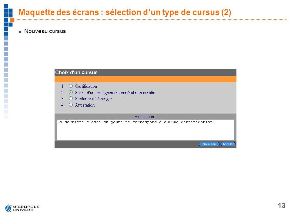 Maquette des écrans : sélection d'un type de cursus (2)