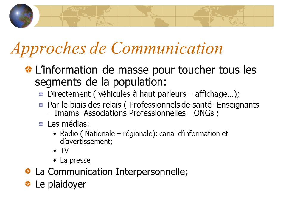 Approches de Communication