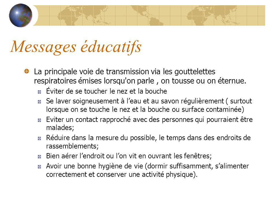 Messages éducatifs La principale voie de transmission via les gouttelettes respiratoires émises lorsqu on parle , on tousse ou on éternue.