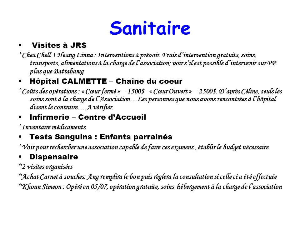 Sanitaire Visites à JRS