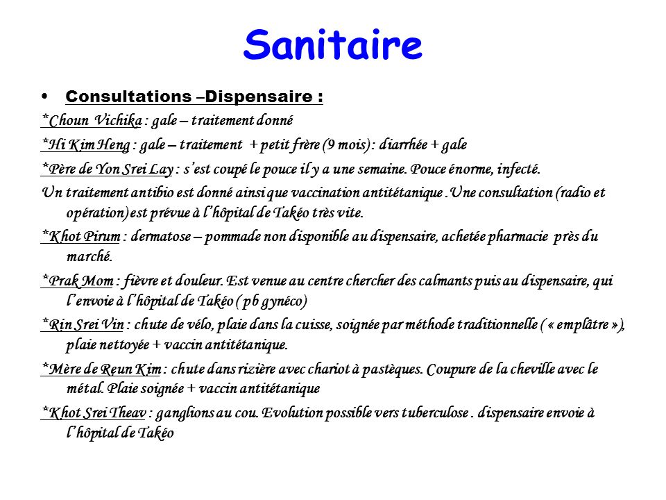 Sanitaire Consultations –Dispensaire :