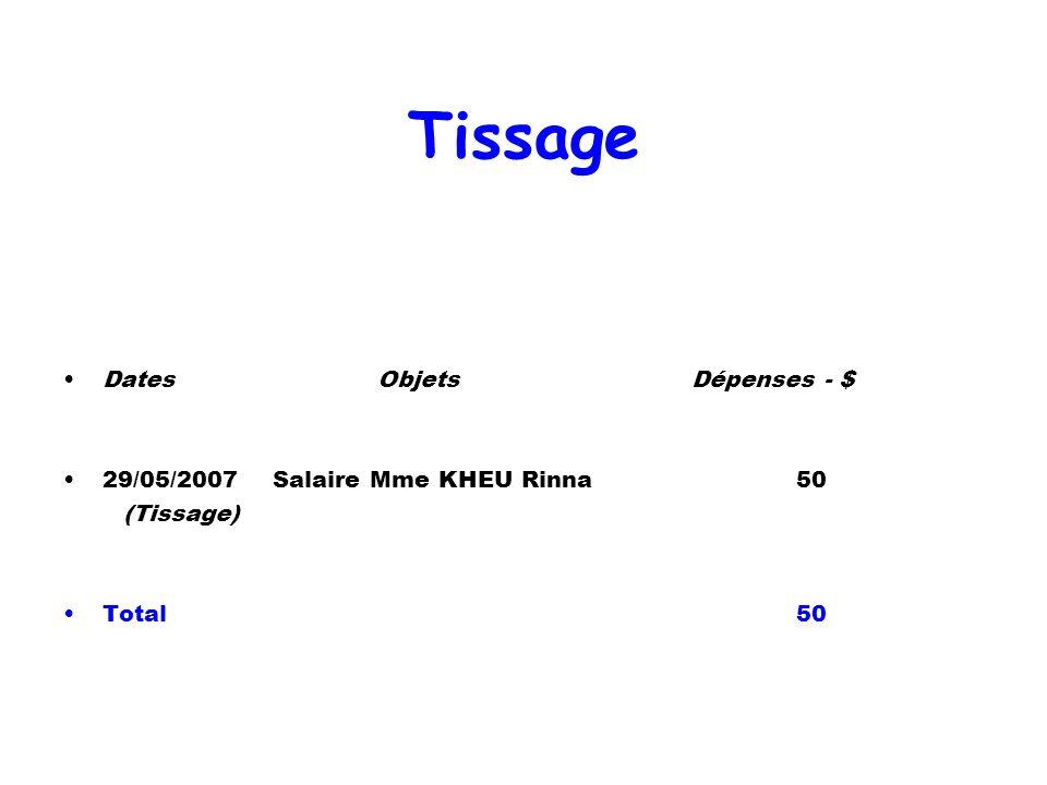 Tissage Dates Objets Dépenses - $ 29/05/2007 Salaire Mme KHEU Rinna 50