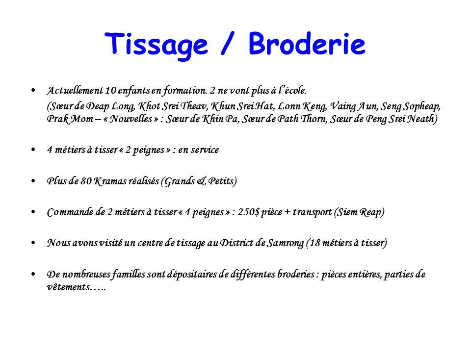Tissage / Broderie Actuellement 10 enfants en formation. 2 ne vont plus à l'école.