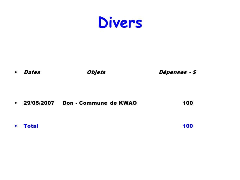 Divers Dates Objets Dépenses - $ 29/05/2007 Don - Commune de KWAO 100