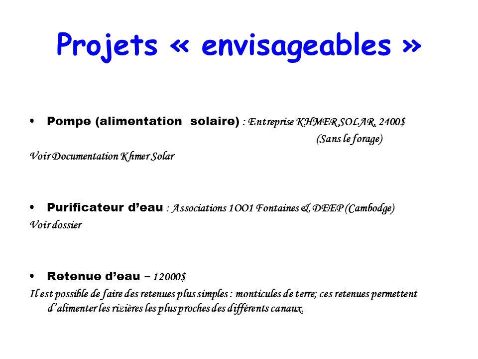 Projets « envisageables »