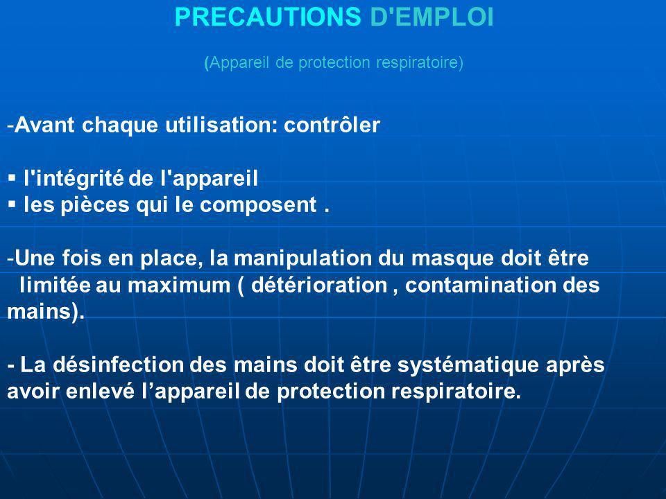 PRECAUTIONS D EMPLOI (Appareil de protection respiratoire)