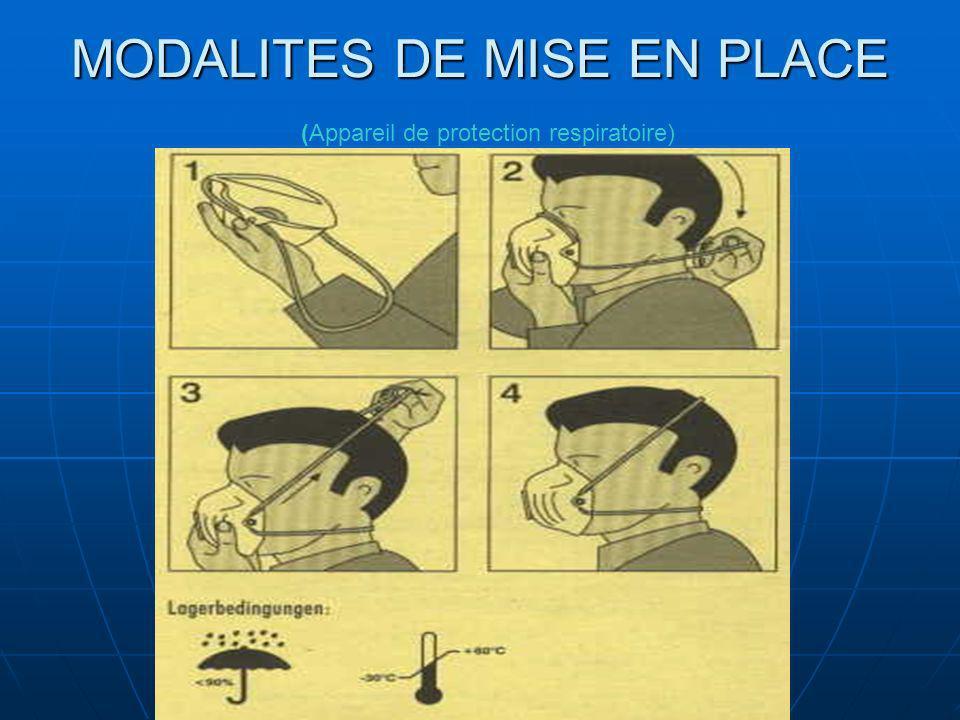 MODALITES DE MISE EN PLACE (Appareil de protection respiratoire)