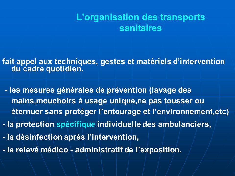 L'organisation des transports sanitaires