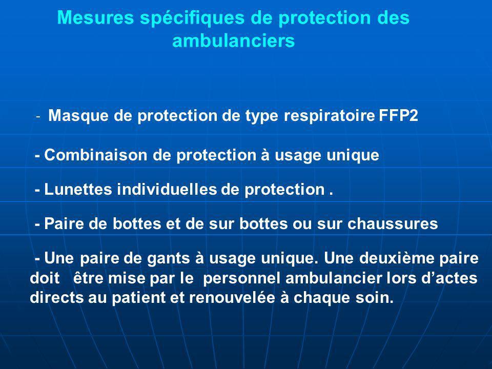Mesures spécifiques de protection des ambulanciers