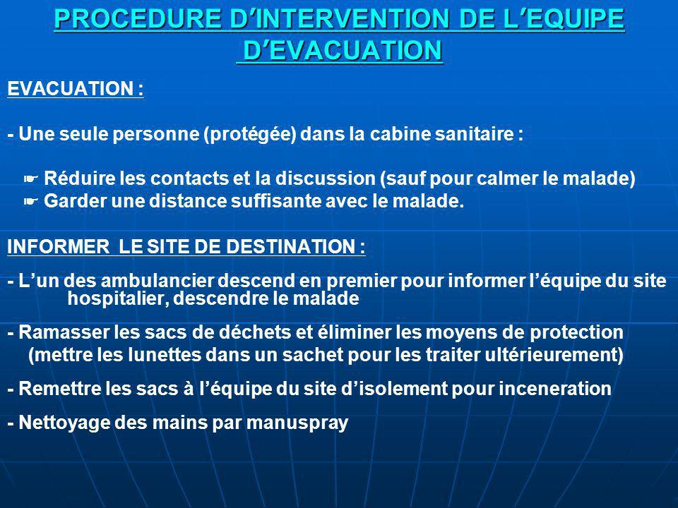 PROCEDURE D'INTERVENTION DE L'EQUIPE D'EVACUATION