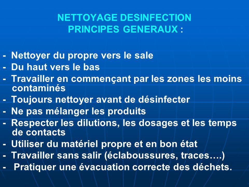 NETTOYAGE DESINFECTION PRINCIPES GENERAUX :