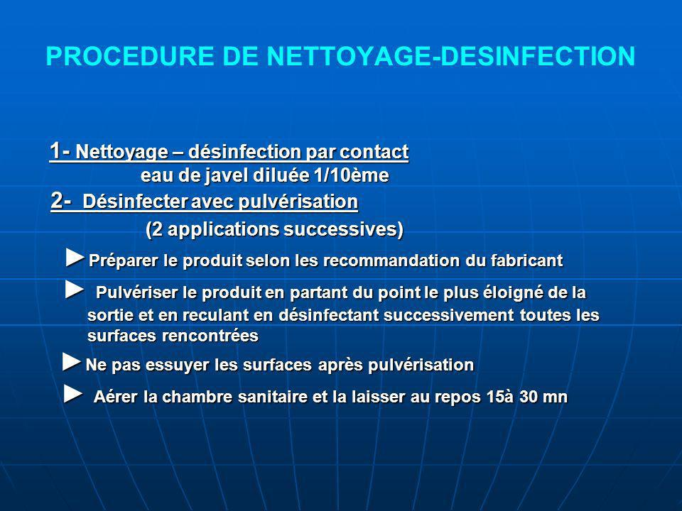 PROCEDURE DE NETTOYAGE-DESINFECTION