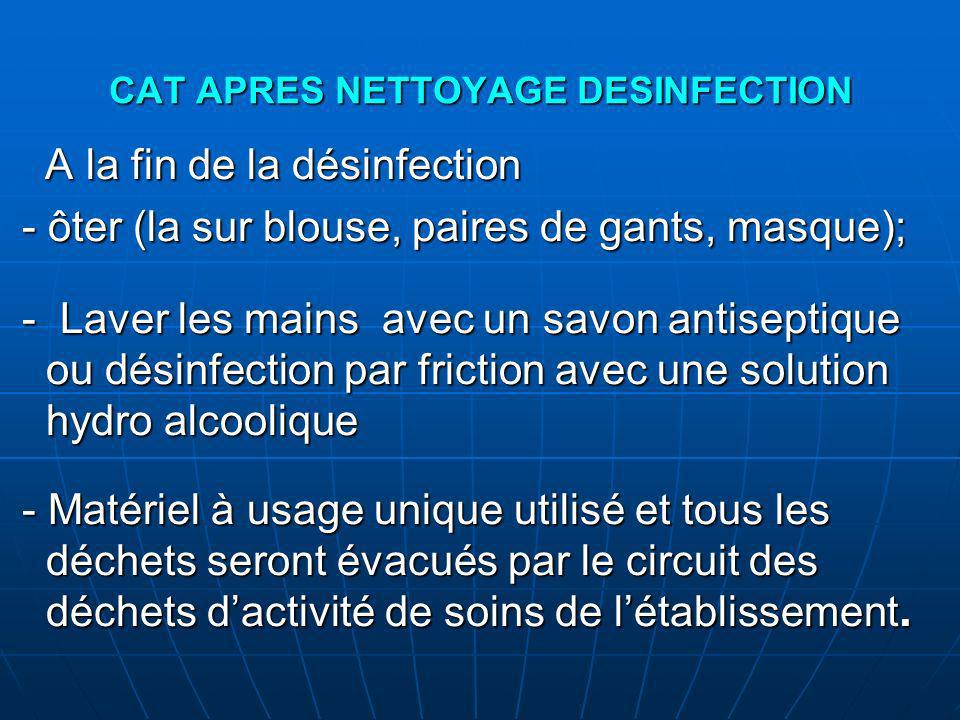 CAT APRES NETTOYAGE DESINFECTION
