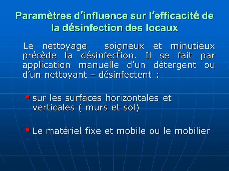 Paramètres d'influence sur l'efficacité de la désinfection des locaux
