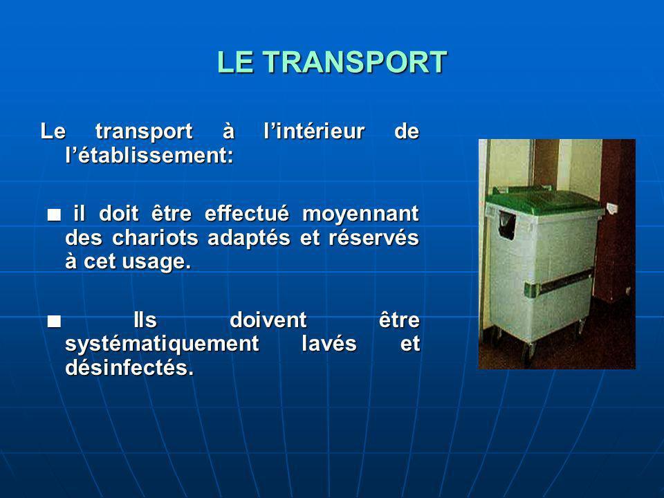 LE TRANSPORT Le transport à l'intérieur de l'établissement: