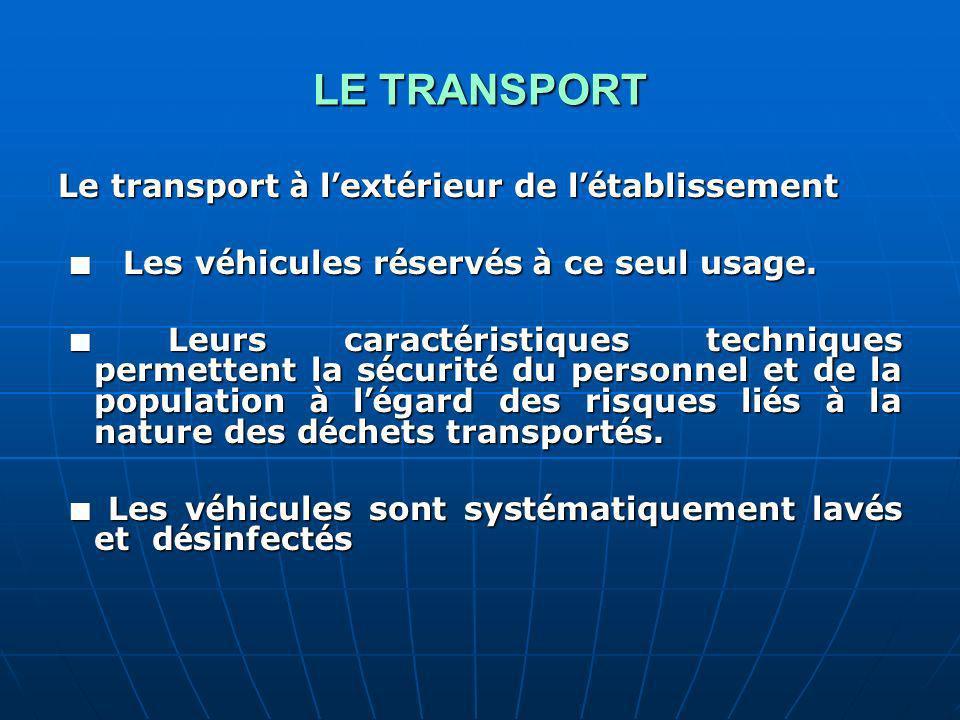 LE TRANSPORT Le transport à l'extérieur de l'établissement