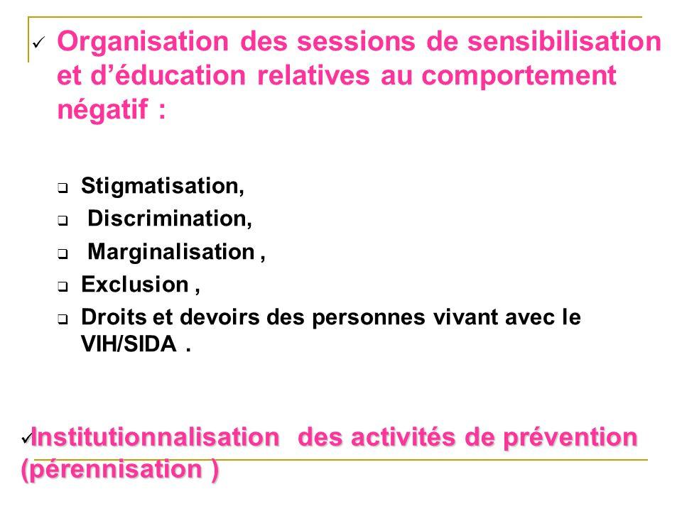 Organisation des sessions de sensibilisation et d'éducation relatives au comportement négatif :