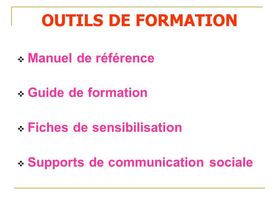 OUTILS DE FORMATION Manuel de référence Guide de formation