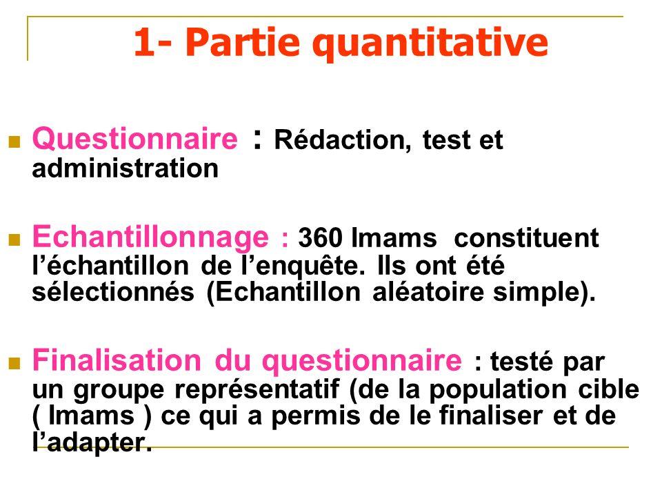 1- Partie quantitativeQuestionnaire : Rédaction, test et administration.