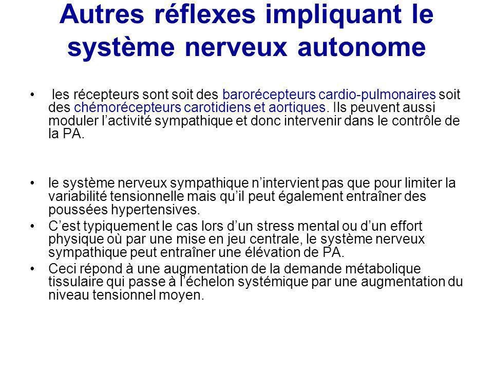 Autres réflexes impliquant le système nerveux autonome