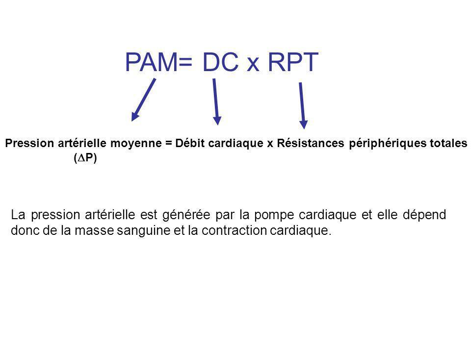 PAM= DC x RPT Pression artérielle moyenne = Débit cardiaque x Résistances périphériques totales. (P)