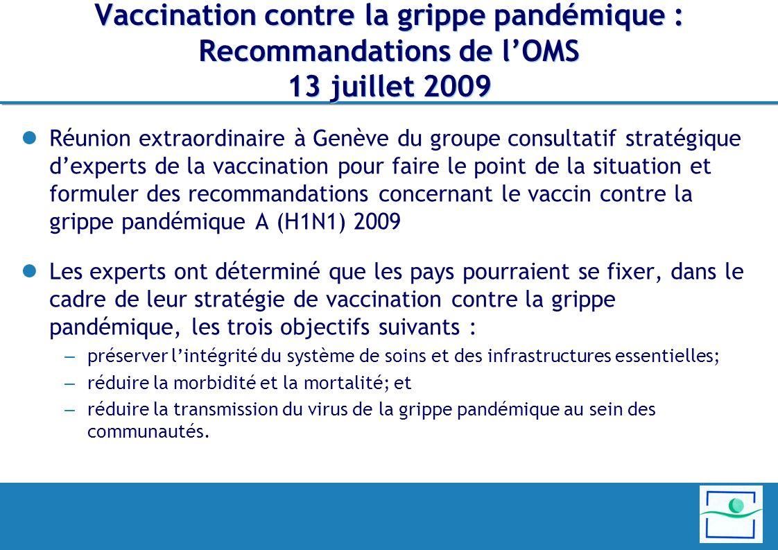 Vaccination contre la grippe pandémique : Recommandations de l'OMS 13 juillet 2009