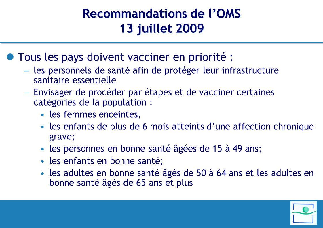 Recommandations de l'OMS 13 juillet 2009