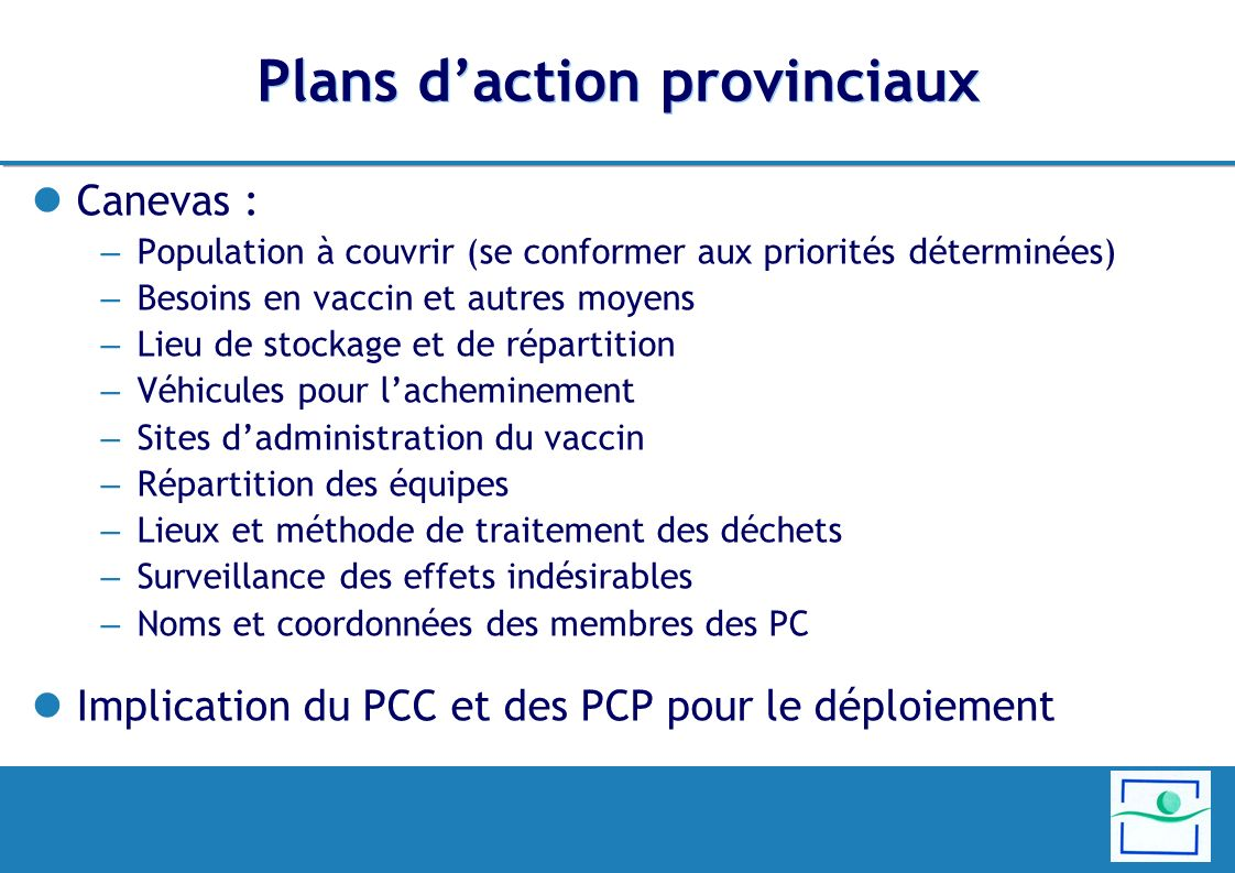 Plans d'action provinciaux