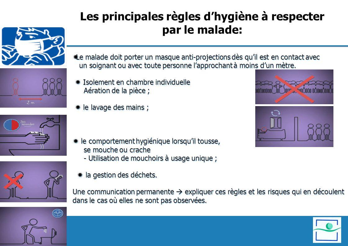 Les principales règles d'hygiène à respecter par le malade:
