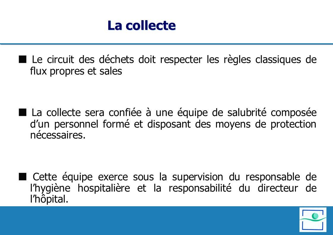 La collecte  Le circuit des déchets doit respecter les règles classiques de flux propres et sales.