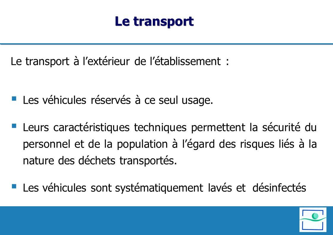 Le transport Le transport à l'extérieur de l'établissement :