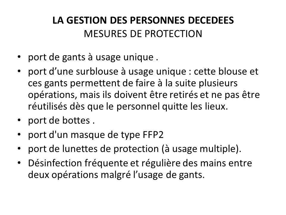 LA GESTION DES PERSONNES DECEDEES MESURES DE PROTECTION