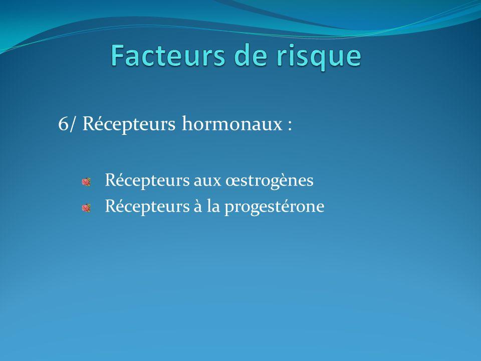 Facteurs de risque 6/ Récepteurs hormonaux : Récepteurs aux œstrogènes