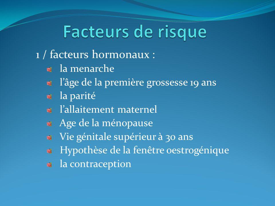 Facteurs de risque 1 / facteurs hormonaux : la menarche