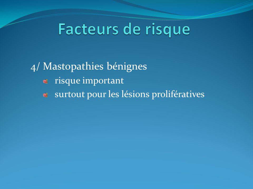 Facteurs de risque 4/ Mastopathies bénignes risque important