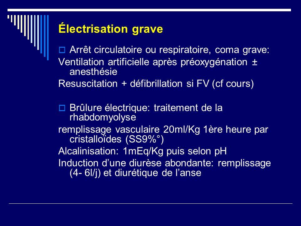 Électrisation grave Arrêt circulatoire ou respiratoire, coma grave: