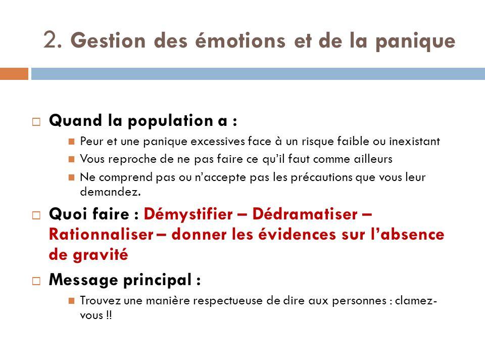 2. Gestion des émotions et de la panique