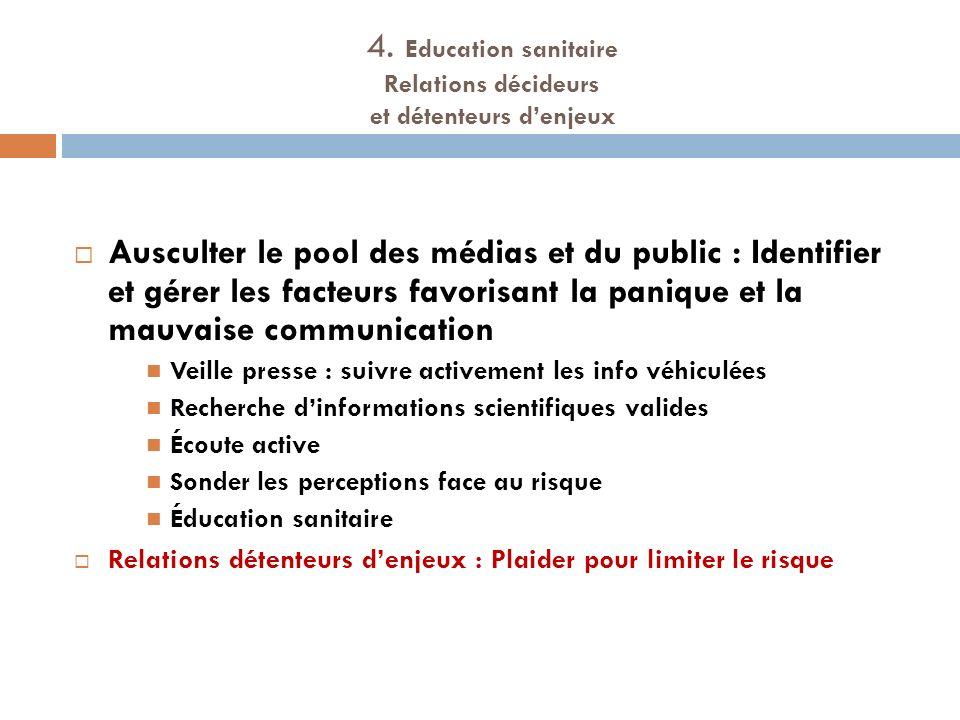4. Education sanitaire Relations décideurs et détenteurs d'enjeux